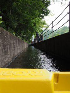 大師の里 彦左衛門のあじさいまつりで「立梅用水ボート下り」