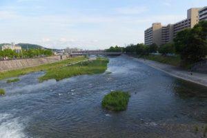 七条大橋から望む鴨川の下流方向