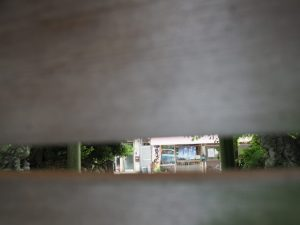 蕃塀の隙間から神様が覗くのは?、箕曲中松原神社(伊勢市岩渕)