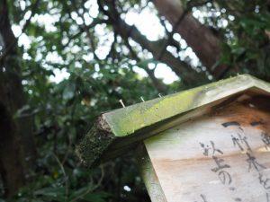 風雨に耐える定の立札、鴨下神社(皇大神宮 末社)