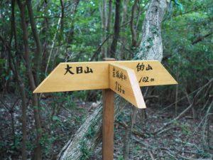 「大日山、岩坂峠、的山」の道標