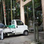 天井を修繕中の豊川茜稲荷神社(茜社)