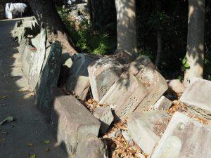 久世戸共同墓地の中を通って