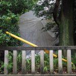 清之井公園からの清野井庭神社(豊受大神宮 摂社)