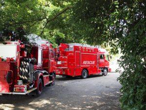 田上大水神社(豊受大神宮 摂社)社叢付近で見かけた消防車