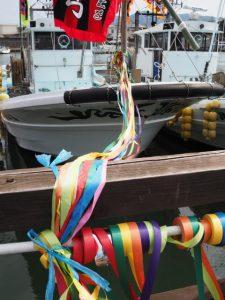 テープ交換の準備、太一御用船(伊勢市神社港)