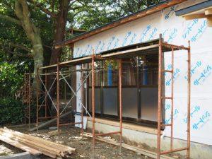 内装工事が始まった社務所、御薗神社(伊勢市御薗町王中島)