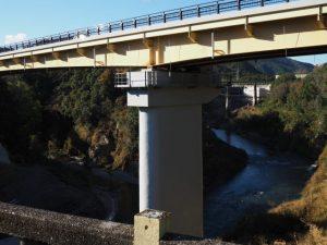 船木橋から望む新船木大橋(大内山川と宮川の合流点)