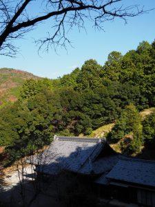 高台の社殿付近から望む寶積寺(度会郡大紀町)